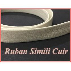 Ruban Biais Simili Cuir Mat Blanc Cassé Au Mètre En 10 mm Couture.
