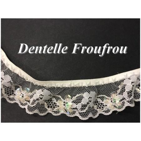 Dentelle Lycra En Froufrou Blanc En 3 Cm A Coudre Pour Lingerie Et Customisations.