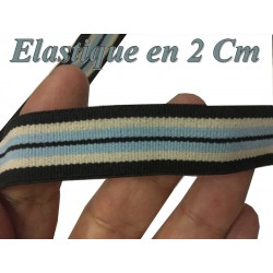 Elastique Plat Au Mètre en 20 mm A Rayure Ciel Et Noir Pour La Couture.