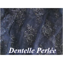 Dentelle Perlée Bleu Marine En Grande Largeur Pour Robes De Cérémonie, Bustier Et Lingerie De Luxe.