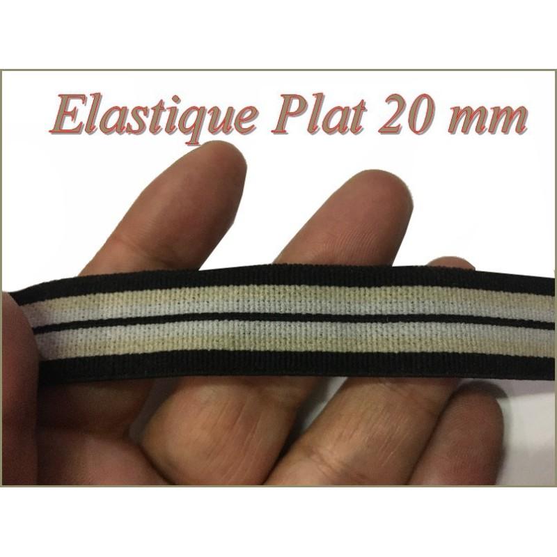 Elastique Plat Au Mètre en 20 mm A Rayure Rouge Et Noir Pour La Couture.