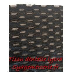Dentelle Lycra en Grande Largeur Noir Pour Lingerie.