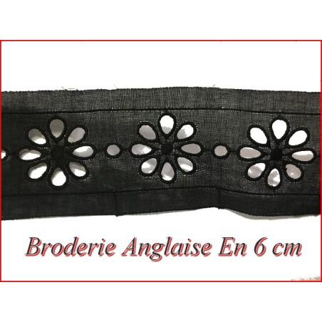 Broderie Anglaise Noir Coton au Mètre en 6 cm A Coudre coudre.