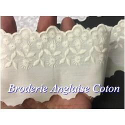 Broderie Anglaise Ecru Coton Au Mètre en 6 cm A Coudre.