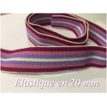 Elastique Plat Parme et violet Au Mètre en 20 mm A Rayure Pour La Couture.