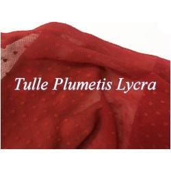 Tissu Tulle Résille plumetis ROUGE Elastique Au Mètre Pour Justaucorps.