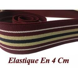 Elastique Plat A Rayure Bordeaux, beige Et Noir En 4 Cm Au Mètre A Coudre Pour Ceintures Loisirs Créatifs Et Customisations.