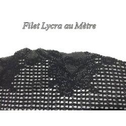 Tissu Dentelle Filet Lycra Au Mètre Noir, en Motif Papillon.