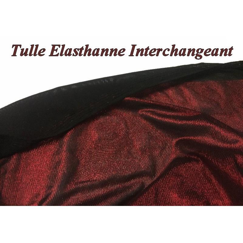 Tulle Résille Lycra En Lurex Rouge et Noir Interchangeant pour justaucorps, Danse, Lingerie.