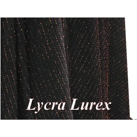 Tissu Maille Lycra lurex Bronze Cuivre Sur Fond Noir A coudre
