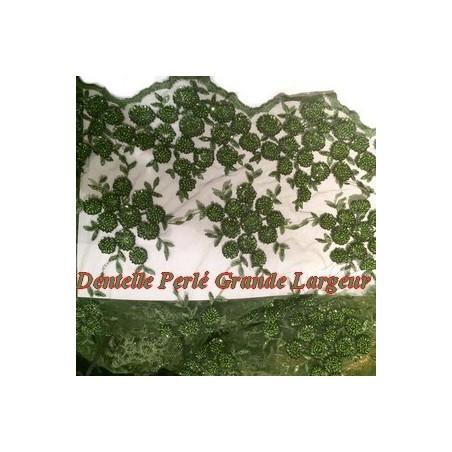 Dentelle Perlée Au Mètre Vert Couture Kaki en Grande Largeur.
