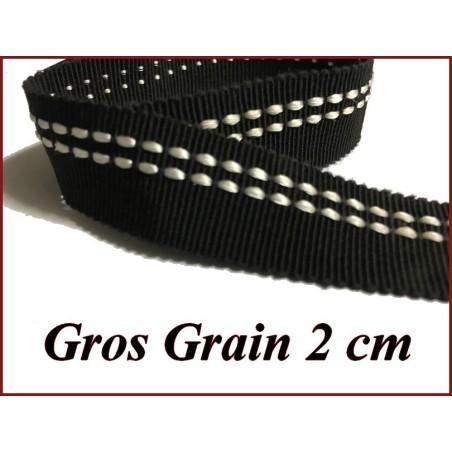 Ruban Gros Grain Noir en 2 cm Fantaisie A Coudre.