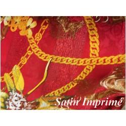 Tissu Satin Imprimé En Motif Or Doré Et Rouge Pour Fabrication de vetements et customisations.