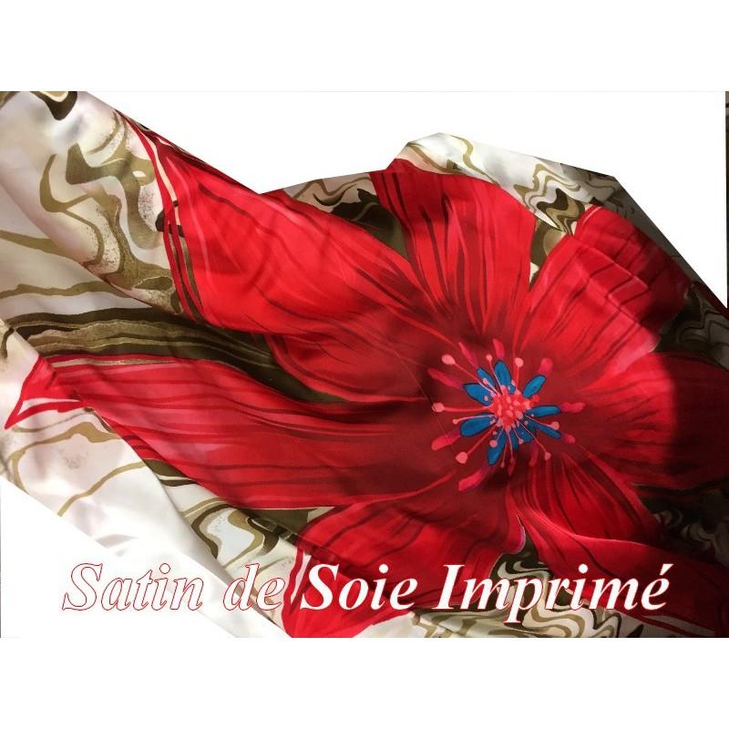 Tissu Satin De Soie Imprimé En Motif Fleurs Au Mètre Couture
