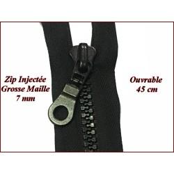Fermeture Eclair A Glissière 45 Cm Noir Ouvrable Grosse maille de 7 mm En Plastique Injecté A Coudre.