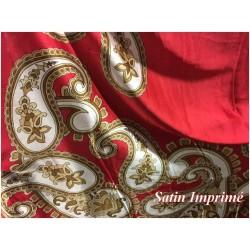 Tissu Satin Imprimé En motifs Cashemire Rouge Pour Fabrication de vetements et customisations.