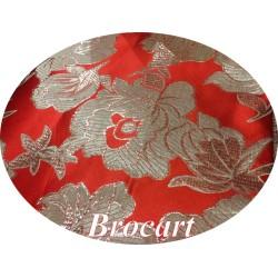 Tissu Brocart Argenté Sur Fond Rouge Au Mètre De Luxe En Motifs Fleurs Noir Pour Robes, Tailleurs Et Caftans