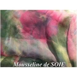 Tissu Mousseline de Soie Imprimé Floral fondueHaute Couture Multicolor Au Mètre.