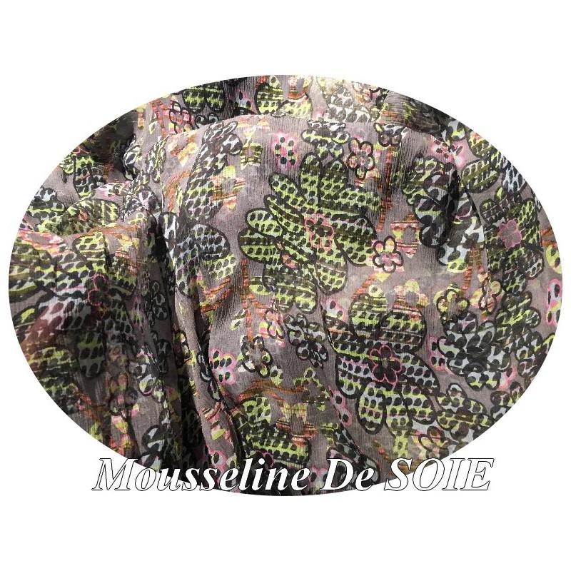 Tissu Mousseline de Soie Imprimé Floral Sur Fond Gris Haute Couture Multicolor Au Mètre.