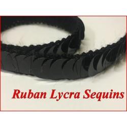 Ruban Sequins Lycra Noir en 12 mm Pour Décorations et Customisations.