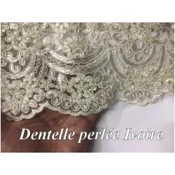 Dentelle Perlée Ivoire Couture Au Mètre En Grande Largeur, Pour Robes De Mariage Et Cerémonie.
