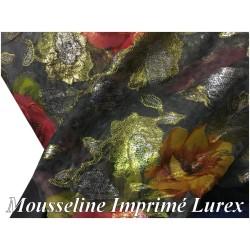 Tissu Mousseline Dévoré Imprimé Lurex FLeurs Doré Or et Argent Au Mètre Couture