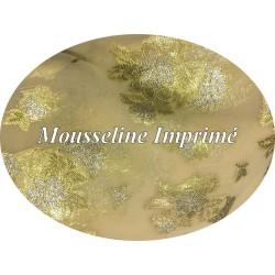 Tissu Mousseline Imprimé Lurex FLeurs Doré Or et Argent Au Mètre Couture