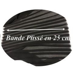 Bande De Tissu Plissé En mousseline noir Au mètre De 25 Cm De Largeur A Coudre, Pour Décoration et Customisation.
