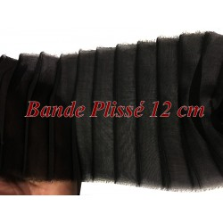 Bande De Tissu Plissé En mousseline noir Au mètre De 12 Cm De Largeur A Coudre, Pour Décoration et Customisation.
