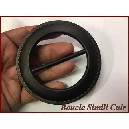 Boucle Ceinture Ronde Simili Cuir Marron En 9 Cm A Coudre.