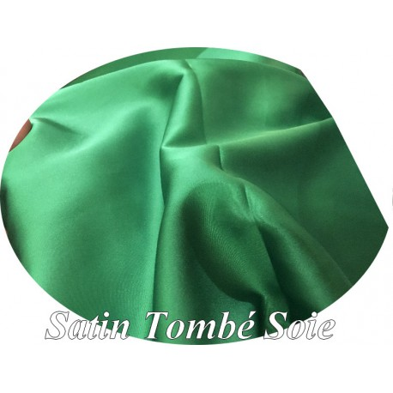 Tissu Satin Vert Emeraude Tombé Soie Au Mètre