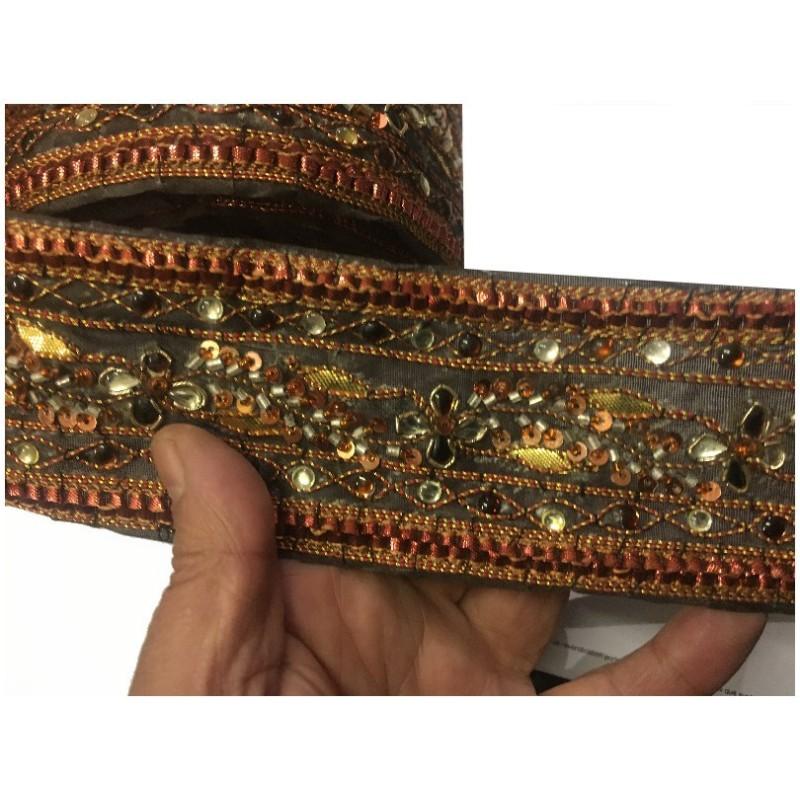Galon Indien Au Mètre Couleur Rouille En 6 Cm A Coudre pour Caftan et Loisirs créatifs.