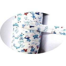 Biais Replié En Coton Blanc Impression Fantaisie enfant, Pour Loisirs Créatifs