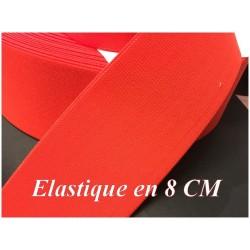 Elastique Orange Fluo Plat Au Mètre en 8 Cm De Large Pour La Couture.
