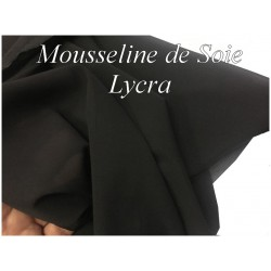 Mousseline De Soie Lycra Stretch Noir Couture Au Mètre.