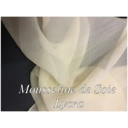 Mousseline De Soie Lycra Elasthanne Beige Couture Au Mètre.
