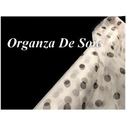 Tissu Organza De Soie Ivoire Imprimé Pois Noir Au Mètre Couture