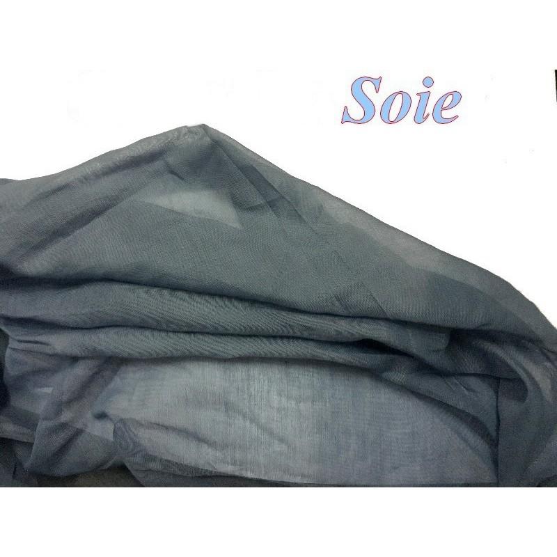 tissu coton et soie bleu indigo uni