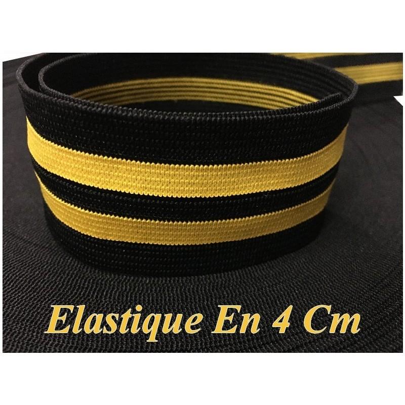 Elastique Orange Fluo Sur Fond Noir En 4 Cm, Ruban Plat Elastique Au Mètre A Coudre .