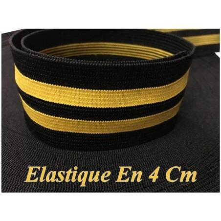 Elastique Jaune Fluo Sur Fond Noir En 4 Cm, Ruban Plat Elastique Au Mètre A Coudre .