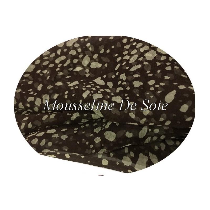 Tissu Mousseline de Soie Imprimée Moucheté Marron Choco Haute Couture Au Mètre.