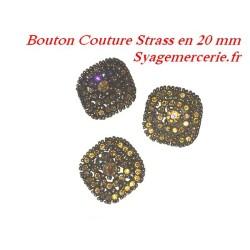 Bouton Strass Carré en T.20 mm x 6 Pièces