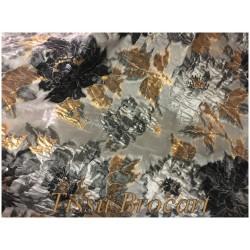 Tissu Brocart Au Mètre De Luxe En Motifs Fleurs Gris, Noir Imprimés Fleurs Lurex MorDoré Pour Robes, Tailleurs Et Caftans