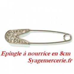 Epingle A Nourrice En 8 cm Métal Argent En Broche Pour Décorations.