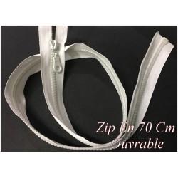 Zip Fermeture Eclair En 70 Cm Blanche à Glissière En Maille Plastique Injecté à Coudre Séparable.