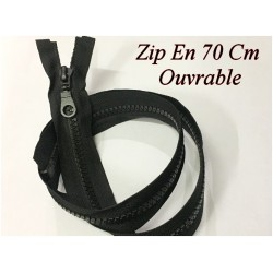 Zip Fermeture Eclair En 70 Cm Noir à Glissière En Maille Plastique Injecté à Coudre Séparable.