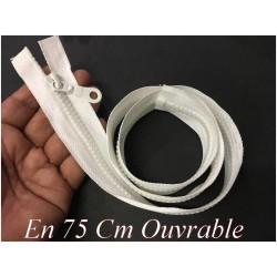 Zip Fermeture Eclair En 75 Cm Blanche à Glissière En Maille Plastique Injecté à Coudre Séparable.