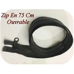 Zip Fermeture Eclair En 75 Cm NOIR à Glissière En Maille Plastique Injecté à Coudre Séparable.