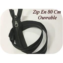 Zip Fermeture Eclair En 80 Cm NOIR à Glissière En Maille Plastique Injecté à Coudre Séparable.