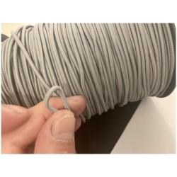 Cordon Elastique GRIS PERLE Rond En 3 mm A Coudre Pour Loisirs Créatifs.